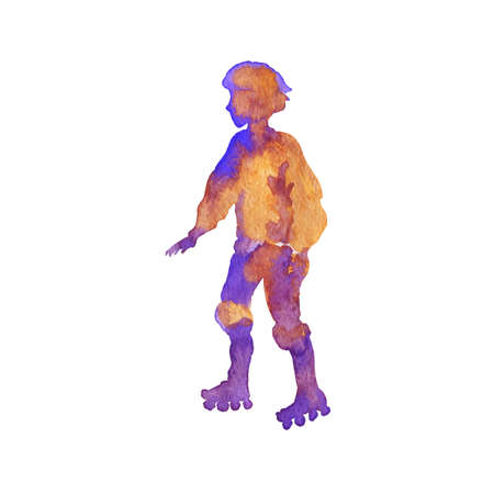 Watercolor roller skating boy silhouette. Hand drawn teenager on the rink. Abstract painting person, isolated illustration on white background