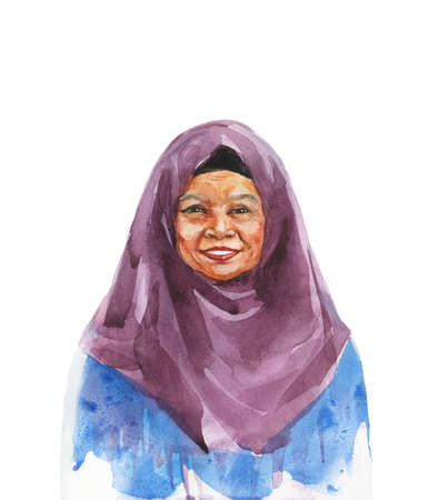 Painting asian aged woman. Watercolor portrait of smiling muslim lady. Hand drawn isolated illustration on white background Stock Photo