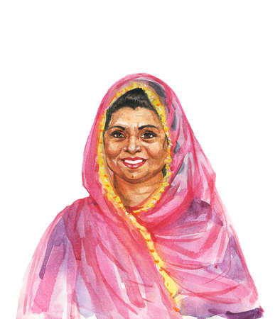 Painting indian aged woman. Watercolor portrait of smiling lady. Hand drawn isolated illustration on white background
