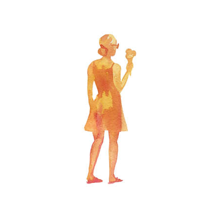 Watercolor womans silhouettes on the beach. Hand drawn young lady with ice cream. Painting abstract isolated illustration on white background 版權商用圖片
