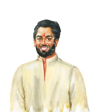 Watercolor indian handsome man. Hand drawn realistic portrait. Painting isolated illustration on white background