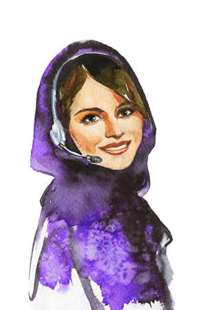 Painting arabian woman an operator in call center. Watercolor portrait of modern and free muslim lady. Hand drawn feminist illustration on white background 版權商用圖片