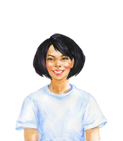 Hand drawn asian woman. Watercolor portrait of smiling lady. Painting isolated illustration on white background