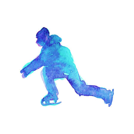 Watercolor skating young man silhouette. Hand drawn teenager on the rink. Painting abstract boy, isolated illustration on white background