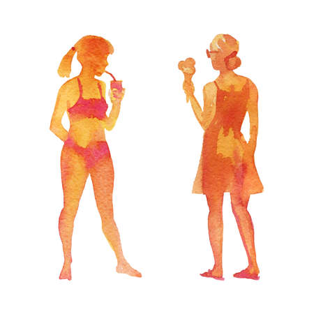 Watercolor womens silhouettes on the beach. Hand drawn young ladies with ice cream and cocktail. Painting set of abstract people, isolated illustration on white background