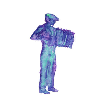 Watercolor silhouette of musician. Hand drawn man playing an accordion. Painting abstract isolated illustration on white background Фото со стока