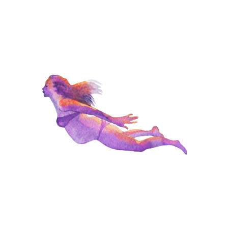 Watercolor swimming pregnant woman. Hand drawn floating silhouette. Painting isolated illustration on white background