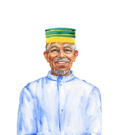 Painting asian aged man. Watercolor portrait of smiling muslim person. Hand drawn isolated illustration on white background