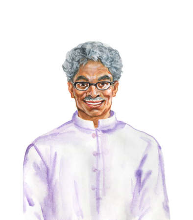 Watercolor indian aged man. Hand drawn realistic portrait. Painting isolated illustration on white background Stock Photo