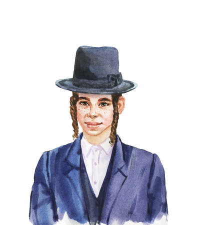 Hand drawn smiling jewish boy in hat. Watercolor realistic portrait. Painting isolated illustration on white background Stock Photo