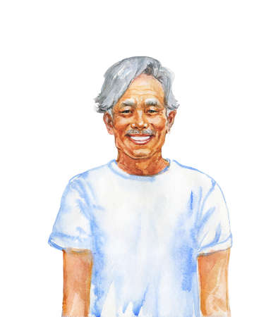 Hand drawn asian senior man. Watercolor portrait of smiling human. Painting isolated illustration on white background