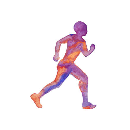 Watercolor silhouette of running man. Hand drawn sportsman on white background. Painting abstract isolated illustration Фото со стока