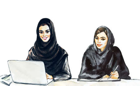 Hand drawn arabian business women, students. Watercolor portrait of modern and free muslim ladies. Sketching feminist illustration  on white background 版權商用圖片