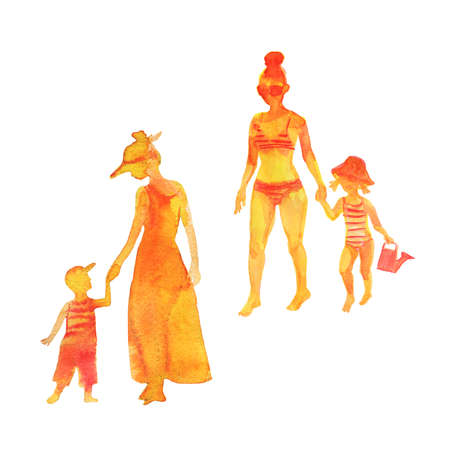 Hand drawn women and children. Watercolor silhouettes on the beach. Painting set of abstract people, isolated illustration on white background 版權商用圖片