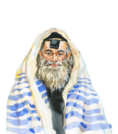 Hand drawn jewish aged man, semitic. Watercolor portrait of smiling person. Painting isolated illustration on white background