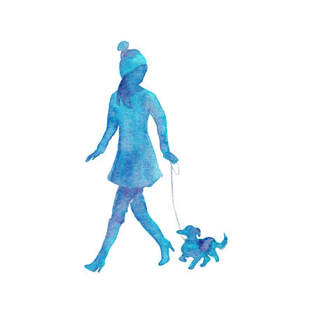 Watercolor silhouette of walking woman with dog. Hand drawn young lady on white background. Painting abstract isolated illustration