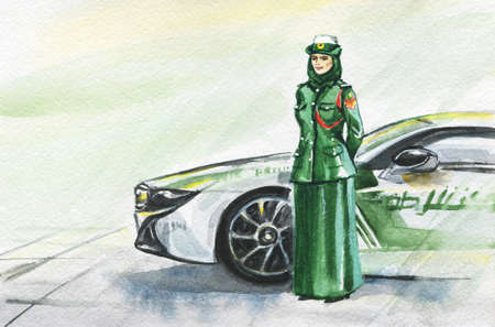 Hand drawn arabian woman policeman. Watercolor portrait of modern and free muslim lady. Sketching feminist illustration