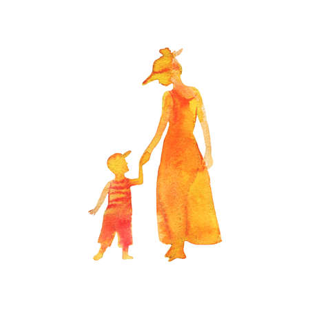 Hand drawn mother and son. Watercolor silhouettes on the beach. Painting set of abstract people, isolated illustration on white background