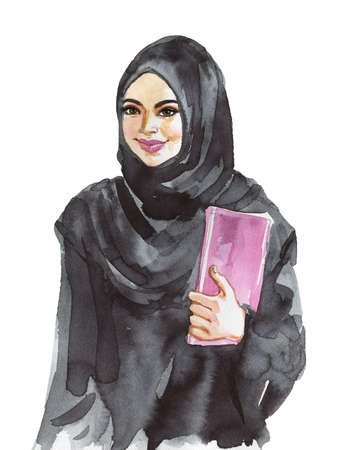 Hand drawn arabian business woman. Watercolor portrait of modern and free muslim lady, student, teacher. Painting feminist illustration on white background