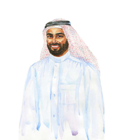 Hand drawn arabian man, sheikh. Watercolor portrait of smiling human. Painting isolated illustration on white background