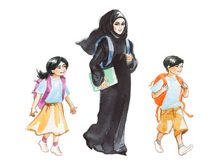 Hand drawn teacher and students. Watercolor portrait of modern and free muslim arabian woman. Sketching feminist illustration on white background Фото со стока