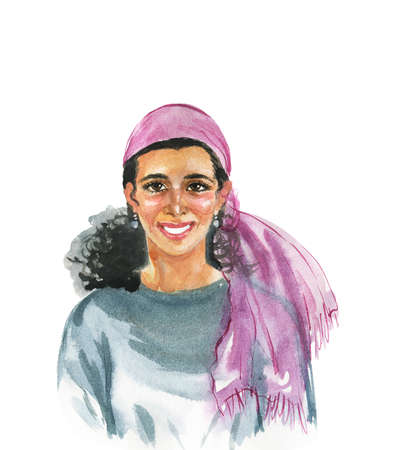 Hand drawn jewish woman. Watercolor portrait of smiling lady. Painting isolated illustration on white background