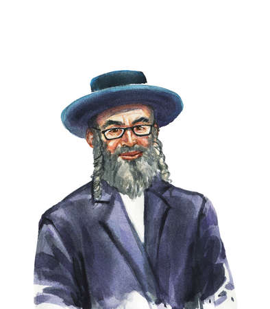 Hand drawn jewish aged man. Watercolor portrait of smiling person. Painting isolated illustration on white background