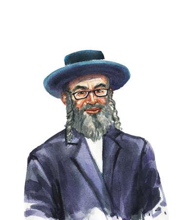 Uomo invecchiato ebreo disegnato a mano. Ritratto ad acquerello di persona sorridente. Dipingere l'illustrazione isolata su sfondo bianco