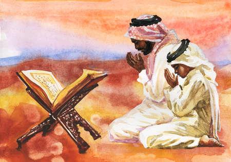 Watercolor arabian man and boy praying namaz. Hand drawn Ramadan Kareem illustration. Painting koran, father and son