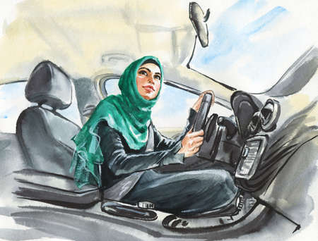 Watercolor portrait of arabian woman driving a car. Painting modern and free muslim lady. Sketching feminist illustration