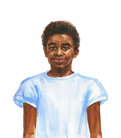 Painting smiling african boy. Hand drawn realistic teenager portrait. Watercolor illustration on white background
