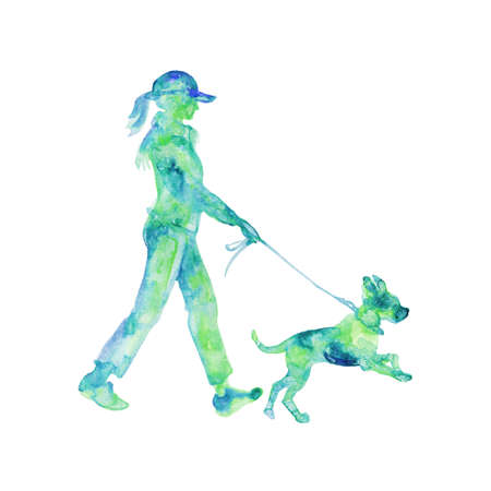 Watercolor silhouette of walking woman with dog. Hand drawn lady on white background. Painting isolated illustration