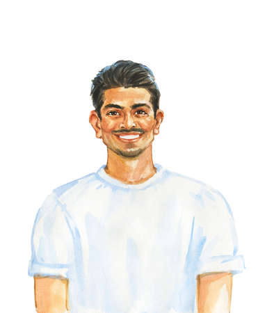 Hand drawn handsome man. Watercolor portrait of smiling person. Painting isolated illustration on white background