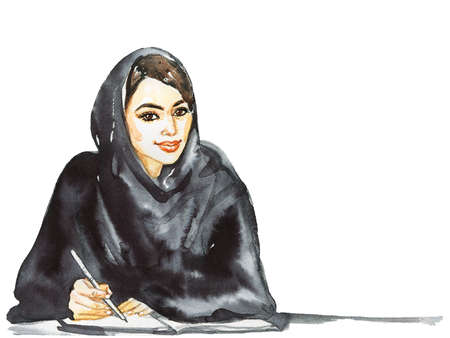 Hand drawn arabian business woman. Watercolor portrait of modern and free muslim lady, student, teacher. Sketching feminist illustration on white background Banco de Imagens