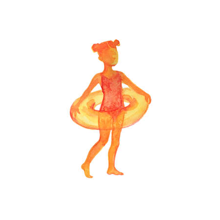 Watercolor girl silhouette, summer time. Hand drawn kid on white background. Painting isolated illustration