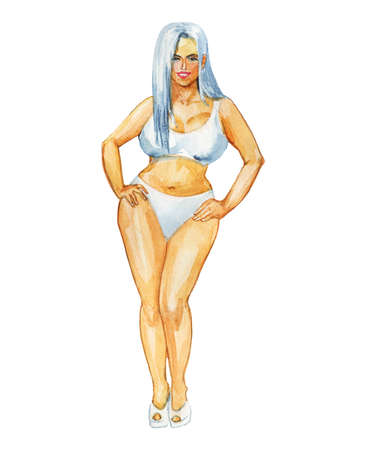 Painting portrait of attractive sexy woman. Watercolor body positive illustration. Hand drawn smiling blondie lady