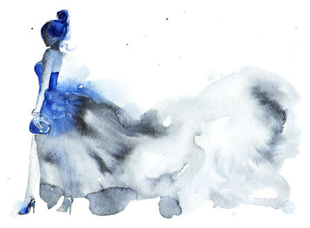 Watercolor beauty portrait of woman. Hand drawn abstract fashion illustration. Painting lady in blue dress Imagens