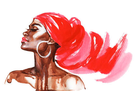Watercolor beauty african woman. Painting fashion illustration. Hand drawn portrait of pretty girl on white background Standard-Bild - 131999662