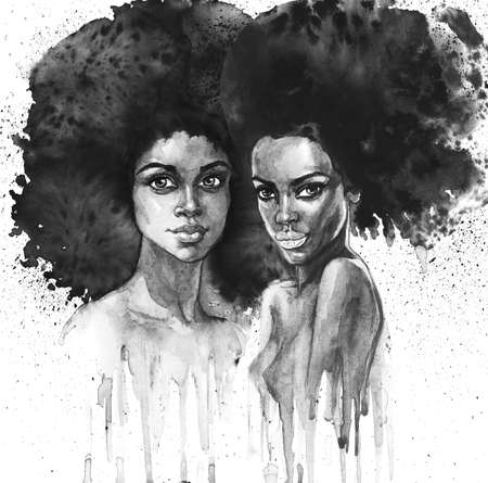 Watercolor beauty african women. Painting monochrome fashion illustration with splashes. Hand drawn portrait of pretty ladies on white background Standard-Bild - 131999679