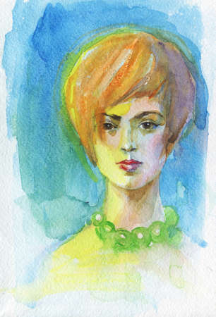 Watercolor beauty young woman. Hand drawn abstract portrait of blondie girl. Painting fashion illustration on blue background