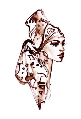 Watercolor beauty african woman with turban. Painting fashion illustration. Hand drawn portrait of pretty lady on white background Stock fotó - 132000684