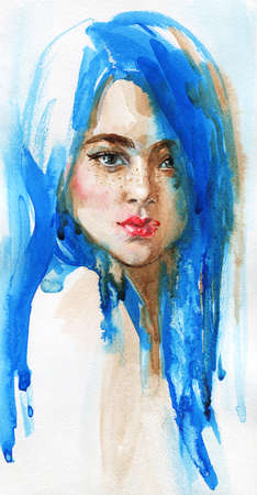 Watercolor beauty young woman with long blue hair. Hand drawn vertical portrait. Painting fashion illustration on white background Standard-Bild - 132001560