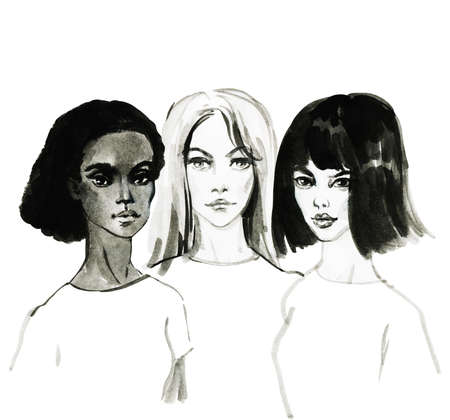 Watercolor portrait of asian, african and european young women. Painting fashion and feminist illustration. Hand drawn beautiful international girls on white background