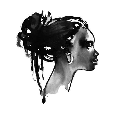 Watercolor beauty african woman. Painting fashion illustration in freehand style Stock fotó
