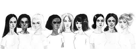 Watercolor portrait of asian, indian, african and european young women. Painting fashion and feminist illustration. Hand drawn beautiful international girls on white background Stock fotó