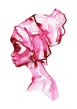 Watercolor beauty african woman. Painting monochrome fashion illustration. Hand drawn portrait of pretty lady on white background