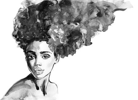 Watercolor beauty african woman. Painting fashion illustration. Hand drawn portrait of pretty girl on white background Stock Illustration - 132002102