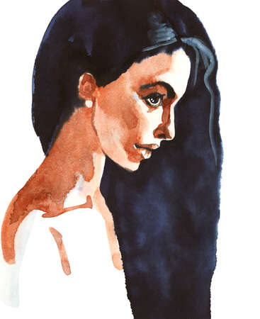 Watercolor beauty woman. Hand drawn portrait of young lady. Painting fashion illustration on white background Stockfoto