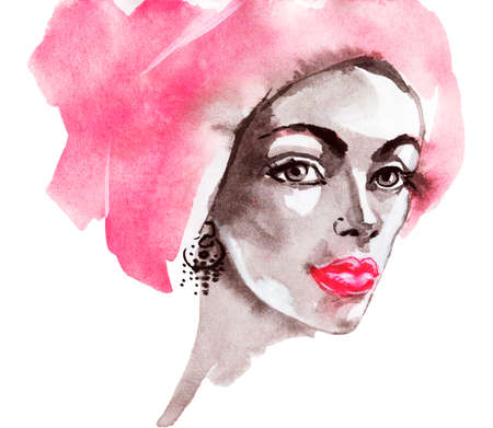Watercolor beauty young woman. Hand drawn portrait of african girl. Painting fashion illustration on white background Stockfoto