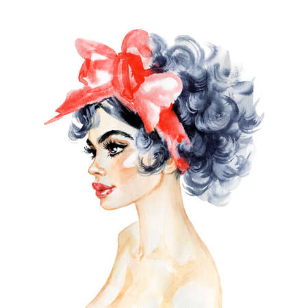 Watercolor beauty young woman. Hand drawn portrait of girl in pin up style. Painting fashion illustration on white background Stockfoto